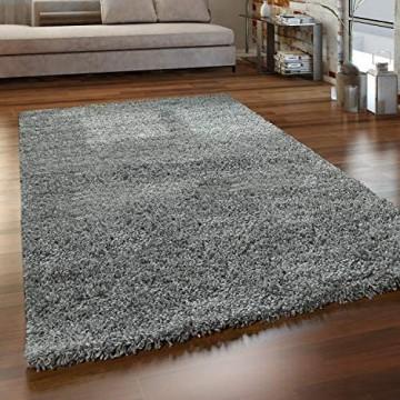 Paco Home Hochflor Teppich Wohnzimmer Shaggy Langflor Modern Einfarbig Ohne Muster Grösse:140x200 cm Farbe:Grau