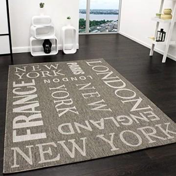 Paco Home In- & Outdoor Teppich Modern City Sisal Optik Flachgewebe Designer Teppich Grau Grösse:160x220 cm