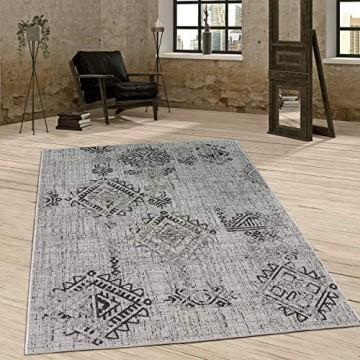 Paco Home In- & Outdoor Teppich Vintage Design Rautenmuster Flachgewebt In Grau Grösse:200x280 cm