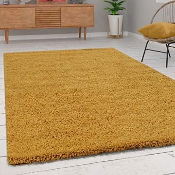 Paco Home Shaggy Hochflor Teppich Wohnzimmer Langflor Kuschelig Einfarbig In Gelb Grösse:160x220 cm