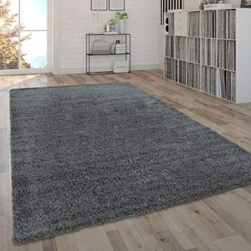 Paco Home Shaggy Teppich Hochflor Flauschig Wohnzimmer Uni In Versch. Farben & Größen Grösse:160x220 cm Farbe:Grau