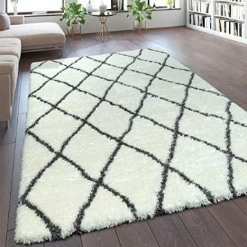 Paco Home Teppich Wohnzimmer Creme Weiß Weich Groß Shaggy Flokati Rauten Muster Hochflor Grösse:160x230 cm