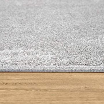 Paco Home Teppich Wohnzimmer Einfarbig Schlicht Und Modern Kurzflor Versch. Größen Farben Grösse:80x150 cm Farbe:Silber