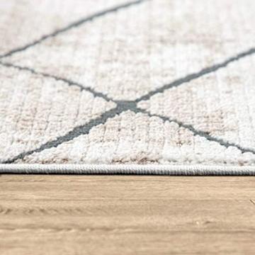 Paco Home Teppich Wohnzimmer Kurzflor Vintage Modernes Marmor Rauten Muster Beige Grau Grösse:160x230 cm