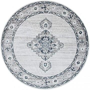 Paco Home Teppich Wohnzimmer Kurzflor Vintage Orient Muster Mit Ornamenten Beige Blau Grau Grösse:120x160 cm
