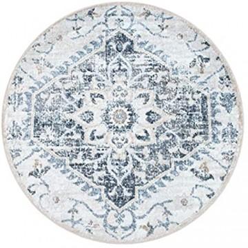 Paco Home Teppich Wohnzimmer Kurzflor Vintage Orientalisches Muster Modern Beige Blau Grau Grösse:Ø 200 cm Rund