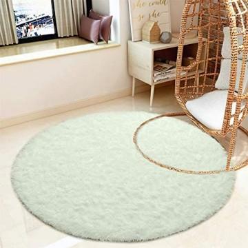 QUANHAO Plüsch Teppich Super weicher Faux Flauschiger Samt Moderne Flauschige Innenteppiche,Lange Haare Fell Optik Gemütliches Bettvorleger Sofa Matte (Weiß 100x100cm)