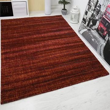 VIMODA Teppich Hochwertig Rot Dichter Hoher Flor Melierung mit Used Optik Maße:160x230 cm