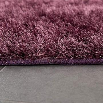 Paco Home Moderner Hochflor Badezimmer Teppich Einfarbig Badematte rutschfest In Dunkellila Grösse:70x120 cm