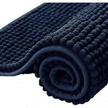 subrtex Badematte rutschfest Badteppich aus Chenille Saugfähig Badezimmerteppich Weich Maschinenwaschbar Badvorleger mit Wasserabsorbierenden(50×80cm Dunkelblau)