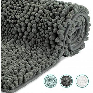 WELTRXE Badematte Badteppich aus Chenille Weich und Wasserabsorbierend 43 × 61 cm Badevorleger und Teppich für Badezimmer Flauschiger Badezimmerteppich in dunkelgrau für Kinder und Familie