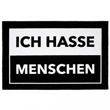 Close Up Fußmatte Ich Hasse Menschen - lustiger Fußabtreter - 60x40 cm - schwarz/weiß