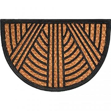 KADAX Fußmatte aus Kokosfaser und Gummi 60 x 40 cm halbrund Schmutzfangmatte Rutschfester Fußabtreter für Haustür Innen und Außen Sauberlaufmatte Fußabstreifer Türmatte (Streifen)