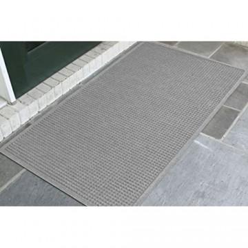 WaterHog Fashion Mat   Fußmatte für Eingangsbereich mit Stoffrand – für den Innen- und Außenbereich schnell trocknend schmutzabweisend Mittelgrau 91 x 152 cm