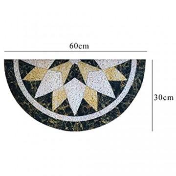 Xpccj Halbrunde Fußmatte Blumenmuster Bodenmatte rutschfest wasserabsorbierend für Außentür Eingang Küche 30 x 60 cm