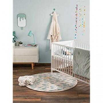 benuta KIDS Kinderteppich Juno Beige/Blau ø 120 cm rund - Teppich für Kinderzimmer 4053894834806
