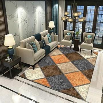 deko fürs Zimmer Braunes graues gelbes Retro-Teppich weiches waschbares Wohnzimmer jugendzimmer deko Jungen Dekoration Wohnzimmer 180*280cm