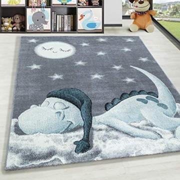 HomebyHome Kurzflor Kinderteppich Dino Wolke Kinderzimmer Babyzimmer Teppich Soft Grau Blau Farbe:Blau Grösse:120x170 cm