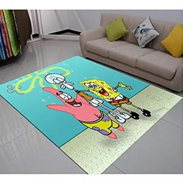 lili-nice Spongebob Piestar Teppich Naughty Little Sponge Comedy Cartoon Bodenteppich Kinderzimmer rutschfeste Teppiche 3D-Druck Teppich 100X160Cm