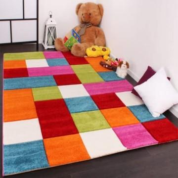 Paco Home Kinder Teppich Karo Design Multicolour Grün Rot Grau Schwarz Creme Pink Grösse:140x200 cm