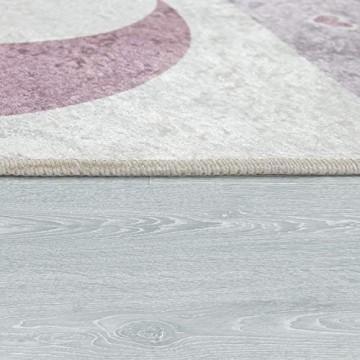 Paco Home Kinderteppich Kinderzimmer Mädchen Waschbar Herzen Sterne Mond Spruch Rosa Grau Grösse:140x200 cm