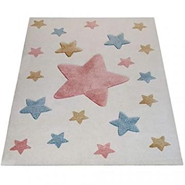 Paco Home Kinderzimmer Teppich Beige Bunt Pastellfarben 3-D Stern Design Niedlich Weich Grösse:120x170 cm