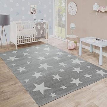 Paco Home Moderner Kurzflor Kinderteppich Sternendesign Kinderzimmer Star Muster Grau Weiß Grösse:80x150 cm