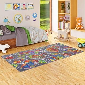 Snapstyle Kinder Spiel Teppich Straßenteppich 3D Big City Grau in 4 Größen