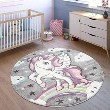 TT Home Spielteppich Kinderzimmer Bunt Grau Einhorn Sternen Design 3-D Muster Robust Größe:Ø 133 cm Quadrat