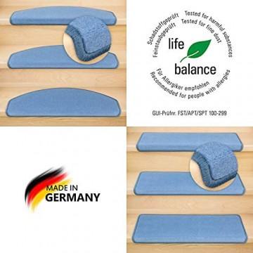 Kettelservice-Metzker Stufenmatten Vorwerk Uni Einzeln oder im Sparset Halbrund & Rechteckig Taubenblau 15 Stück Rechteckig 65cm x 24cm