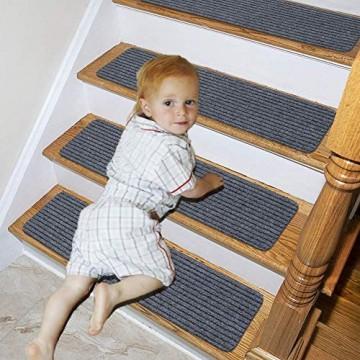 Lmeison Treppenstufen-Teppich (7er-Set) rutschfest für den Innenbereich für Holztreppen Stufenmatten für Kinder ältere Menschen und Hunde 20 3 x 76 2 cm grau