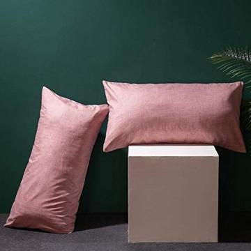 Boqingzhu 2er Pack Kissenbezug 40x80cm Uni Altrosa Rosa Grau Anthrazit Hochwertig Wende Kopfkissenbezug 100% Microfaser