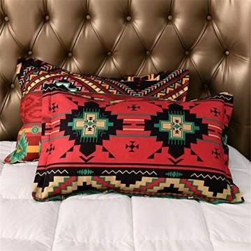Chanyuan Kissenbezug Bohemian Stil 40x80 cm Kopfkissenbezug Weich Mikrofaser Böhmisch Rot Grün Geometrisch Gestreift Muster Kissenbezüge