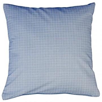 Hans-Textil-Shop Kissenbezug 40x40 cm Streifen Karo Muster Baumwolle (Kariert Kissen Kissenhülle Deko) (Hellblau)