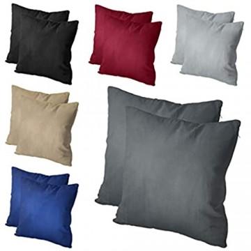 leevitex® 2er Pack Mikrofaser Kissenbezug 100% Polyester Kissenhülle mit Reißverschluss (40 x 80 cm Sand/Beige)