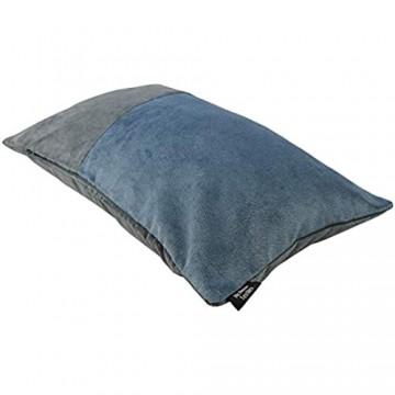 McAlister Textiles Matter Samt   Kissenbezug für Sofakissen zweifarbiges Patchwork in Anthrazit & Petrol Blau   50 x 30cm   griffester weicher Samt   Deko Kissenhülle für Couch Sofa