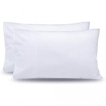 OLESILK 2er-Set Kissenbezug 40 x 80 cm Mikrofaser Kissenhülle mit Reißverschluss Doppelpack Hochwertige Kopfkissenbezüge Weiß