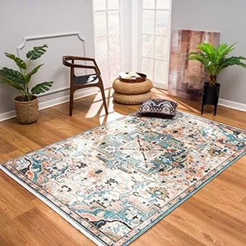 Teppiche Wohnzimmer - Boho-Stil Ornamente 120x170 cm Beige Blau - Vintage-Teppich Öko-Tex 100 geprüft