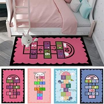 YSDSPTG Teppich für Kinder Hopscotch Spielteppich mit niedlichem buntem Design rutschfest weicher Boden für Zuhause und Küche (Farbe: C)