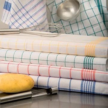 Brändl Textil GmbH Geschirrtuch Trockentuch Küchentuch halbleinen kariert hochwertig 95 °C (50 x 70 cm blau)