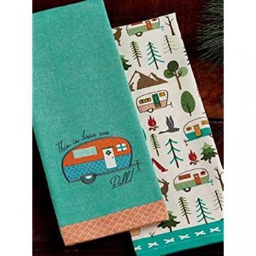 Design Imports DII Happy Camper How We Roll Geschirrtücher – Set von 2 – Camper verziert – Camper Bedruckt