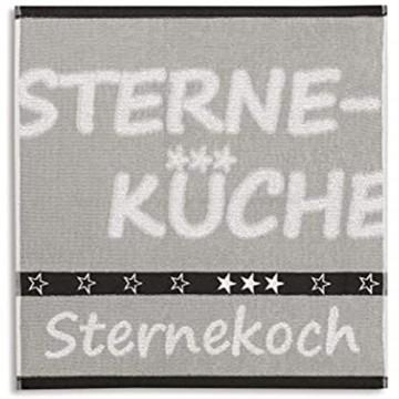 KRACHT Geschirrtuch Frottier Sternekoch grau Format 50/50 100% Baumwolle