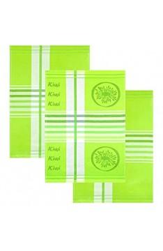 Lashuma 3er Pack Geschirrtücher Design: Kiwi Küchenhandtücher 50x70 cm Baumwolltücher Grün mit Streifen