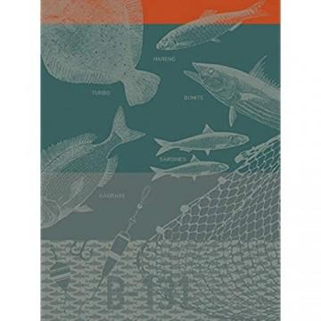 Le Jacquard Francais 26556 Geschirrtuch Peches En Mer Filet 60 x 80 cm Baumwolle