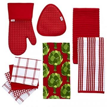 T-fal Textiles Geschirrtücher 100% Baumwolle Waffelmuster 30 5 x 33 cm 4 Designs Rot 4 Pack rot