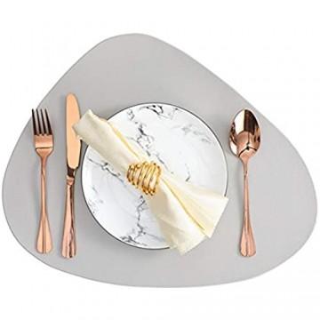 4er Platzsets Leder Tischset PU Kunstleder Abwischbare Wasserdicht Platzdecken Lederoptik für Hause Küche Restaurant und Hotel 44x36cm (Grau 4 Stück)