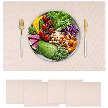 Hochwertiges Tischset 4er Platzset Platzdeckchen Tischuntersetzer Tischmatte Platzdecken abwaschbar hitzebeständig schmutzabweisend spülmaschinenfest rutschfest weiß creme beige