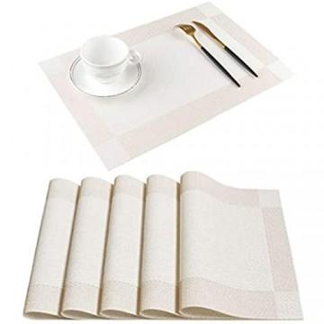 Homcomodar Platzsets Abwaschbar Hitzebeständig Tischsets rutschfest Schmutzabweisend Platzdeckchen für Küchentisch 6er Set(Beige)