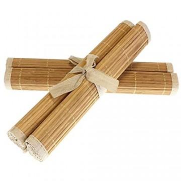 MACOSA HOME Platz-Set Bambus 4er Set abwaschbar Tischmatte Tisch-Set Platzdeckchen braun oder beige für Garten Terrasse oder Haus 45x30 cm recht-eckig (Braun)