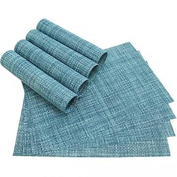 matches21 Tischset Platzset ELEGANCE Platzmatten blau hellblau 8er Set gewebt aus Kunststoff 45x30 cm